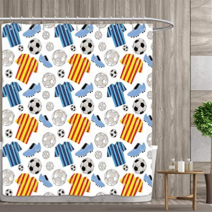 Anniutwo Soccer Shower Curtain Customized Sports Clothes Professional Player Athlete Shoes Hand Drawn Style League Match