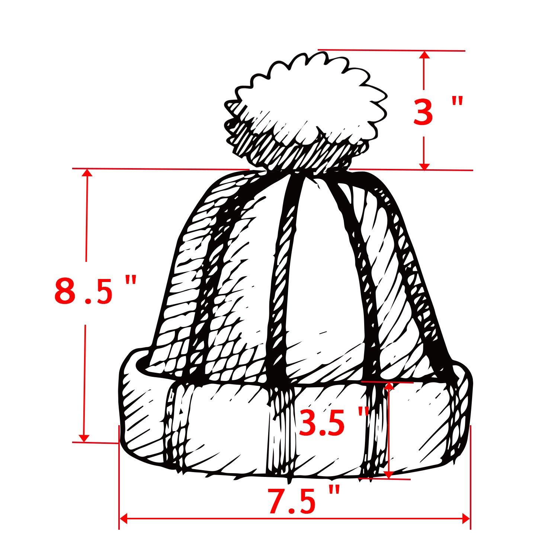 2 Pack Womens Knitted Chunky Beanie Faux Fur Pom Pom Beanie