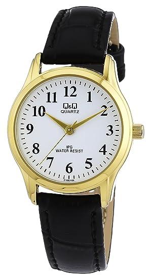 Q&Q C169J104Y - Reloj analógico de cuarzo para mujer con correa de piel, color negro