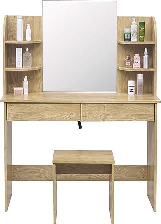 Prix 50% acheter authentique Design moderne WOLTU MB6044ei Coiffeuse Table de Maquillage avec Miroir Plateau avec  Tabouret, 108x40x142cm, Chêne