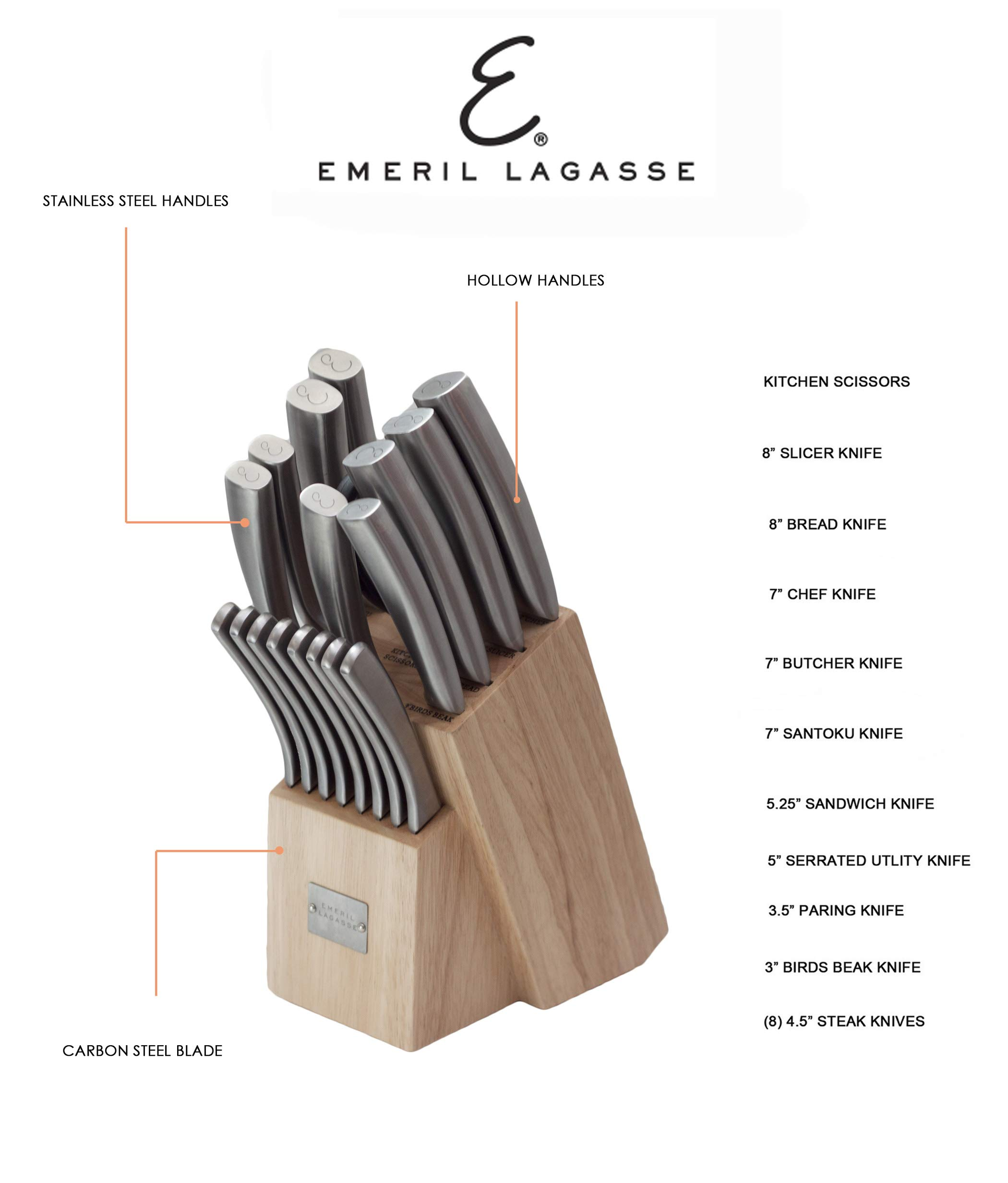 Emeril 19 Piece Hollow Handle & Forged Knife Block Set E9021GB by Emeril (Image #3)