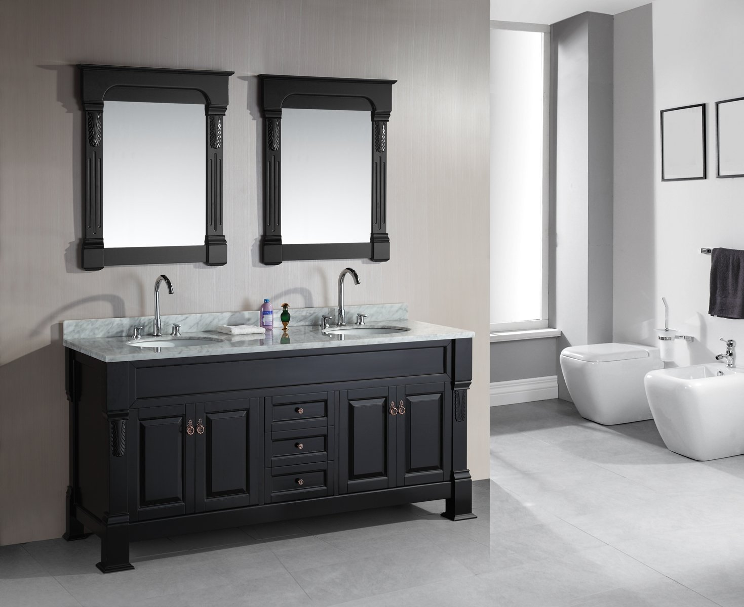 Design Element Marcos Double Sink Vanity Set wih Crème Marfil Marble ...