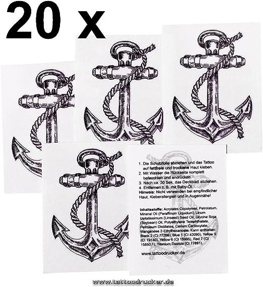 Tatuaje ancla con cuerda - Set de tatuajes, carnaval, negro / azul ...