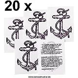 20 x Anker Tattoo mit Seil - Anker Tattoo Set - Fasching Tattoo (20)