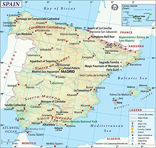 Amazoncom Spain Map 36 W x 4646 H Office Products