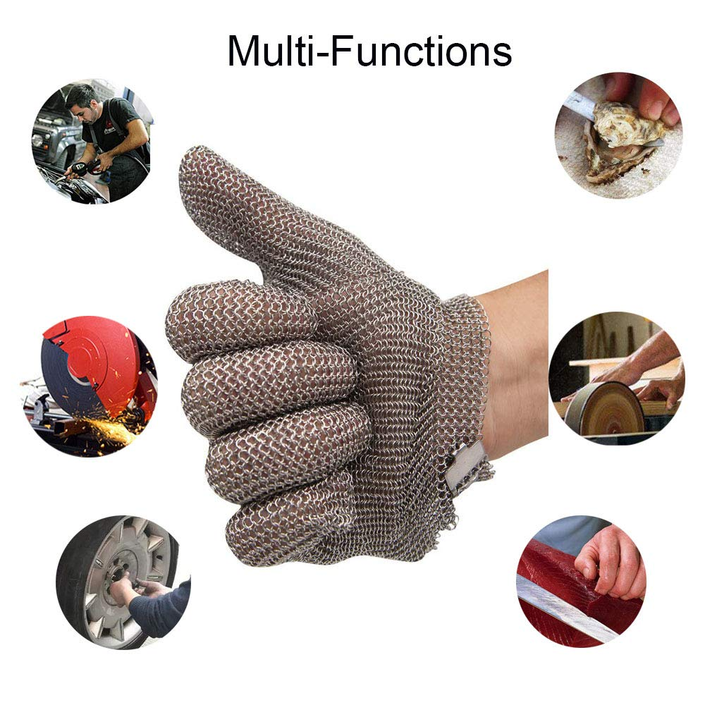 Schwer Stainless Steel Metal Mesh Chainmail Cut Resistant Glove for Food Handling, Meat Cutting Butchers Slicing Chopping Restaurant Work Safety(M) by Schwer (Image #3)