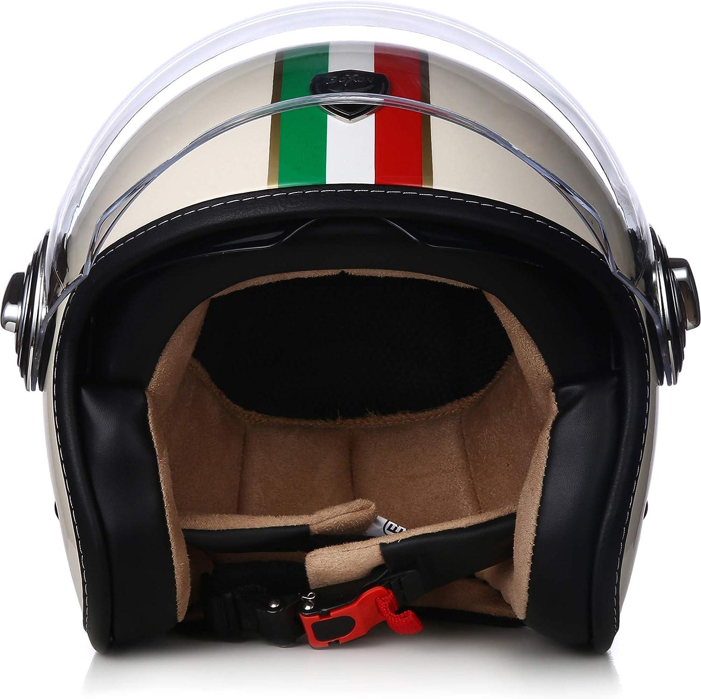 "SOXON/® SP-888 /""Sir Snow/"" /· Jet-Helm /· Motorrad-Helm Roller-Helm Scooter-Helm Bobber /· ECE Sonnenvisier Schnellverschluss SlimShell Tasche M 57-58cm"