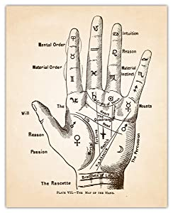 Vintage Map of Hand Palmistry Wall Art Print - (8x10) Photo Unframed Make Great Room Wall Decor Gift Idea Under $15
