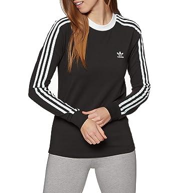 adidas Originals Longsleeve Damen 3 STR LS Tee DV2608 Schwarz, Size:34
