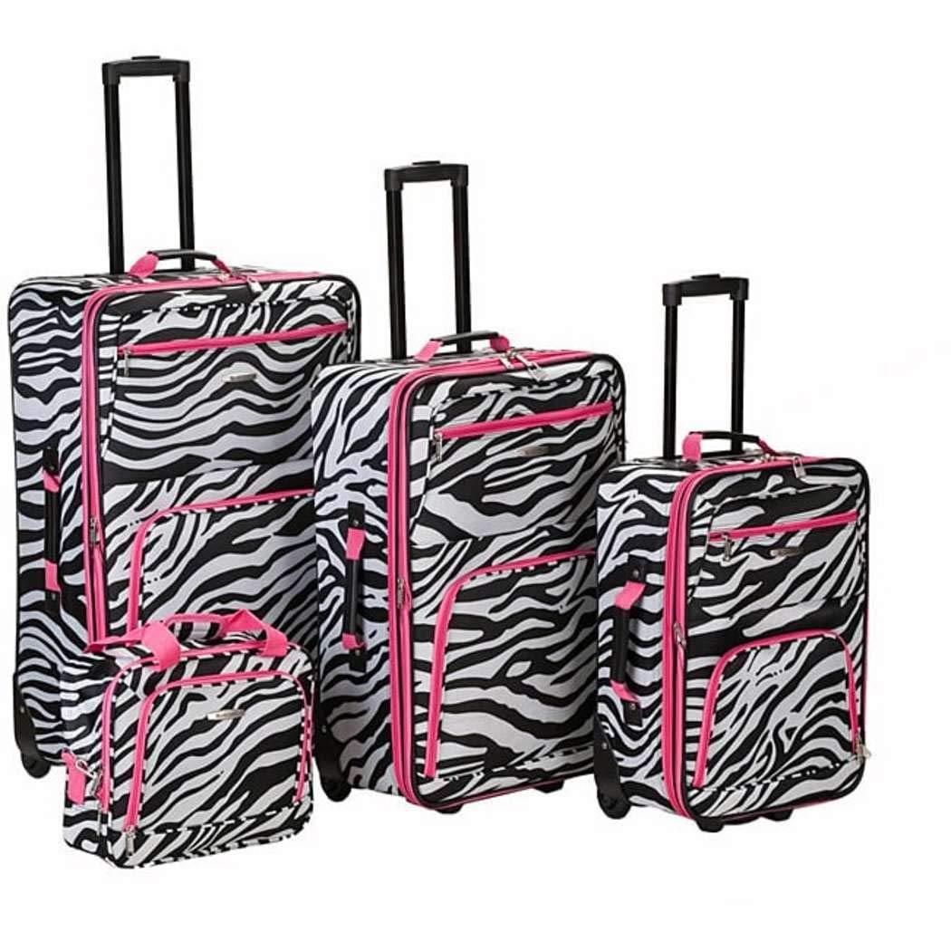 OTSK Four Piece Light Pink Lightweight Wheeled Briefcase, Zebra Pattern, Black, Nylon Upright Luggage Set, Vibrant White, Telescoping Handle Easy Carry, Inline Skate Wheels
