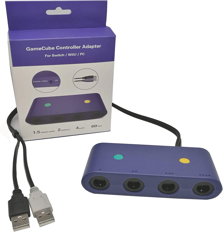 Ruitroliker Adaptador USB PC 4 puertos para Gamecube Controller Wii U Switch Super Smash Bros Control Adaptador Azul: Amazon.es: Videojuegos