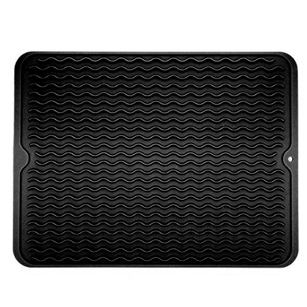 Premium grande tappetino scolapiatti in silicone drenante Mat Boards isolamento termico per cucina contatore, forno, microonde, lavabile in lavastoviglie, antiscivolo, 39,9x 30,5cm Gray EDJIAN