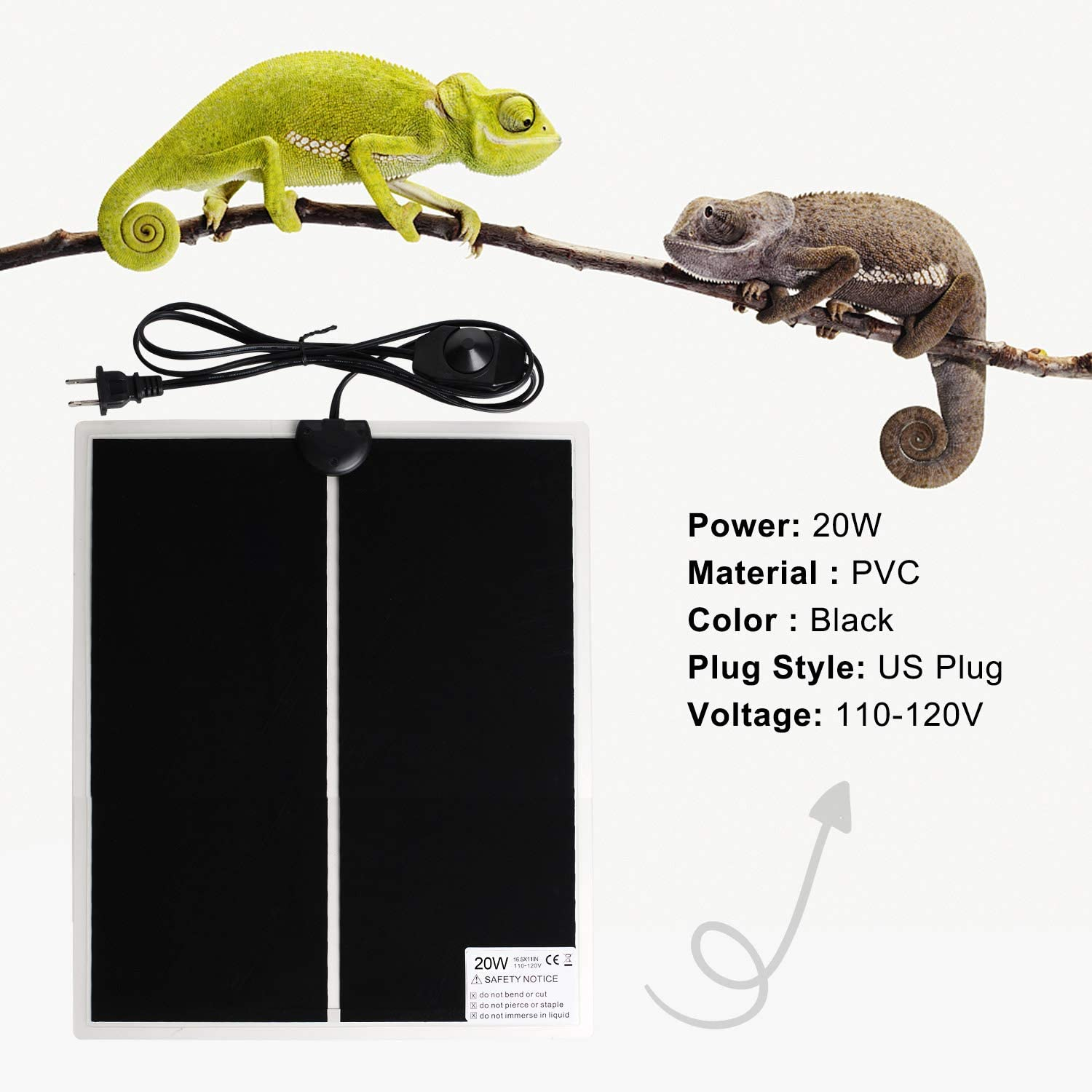 FIVEAGE 20W 16.5 Inch x 11 Inch Reptile Heating Pad Warmer with Temperature Controller Power Adjustment Under Tank Terrarium Heater Heat Mat for Pets Small Animals,2 Pack