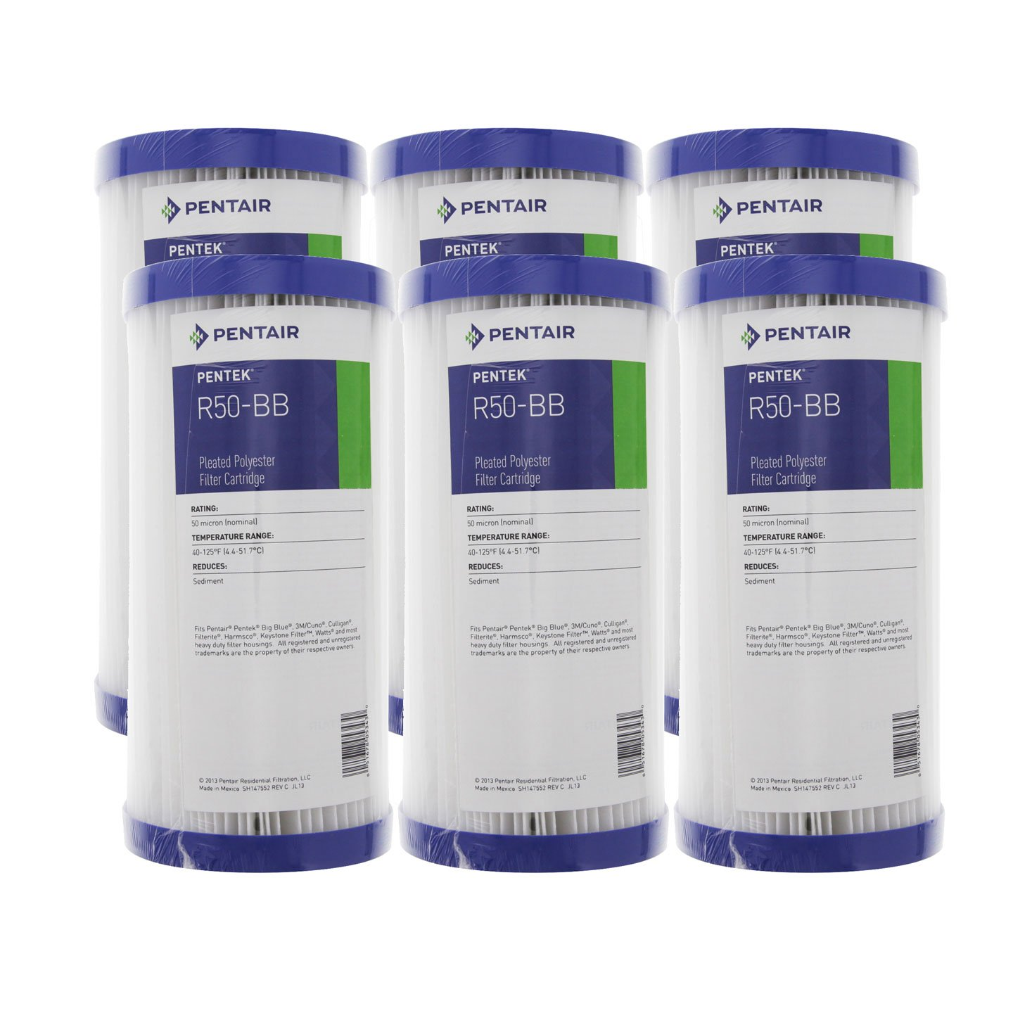 Pentek R50-BB 50 Micron 10 x 4 5 Whole House Pleated Sediment Filter 6 Pack
