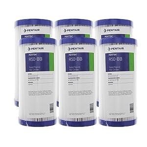 Pentek R50-BB 50 Micron 10 x 4.5 Whole House Pleated Sediment Filter 6 Pack