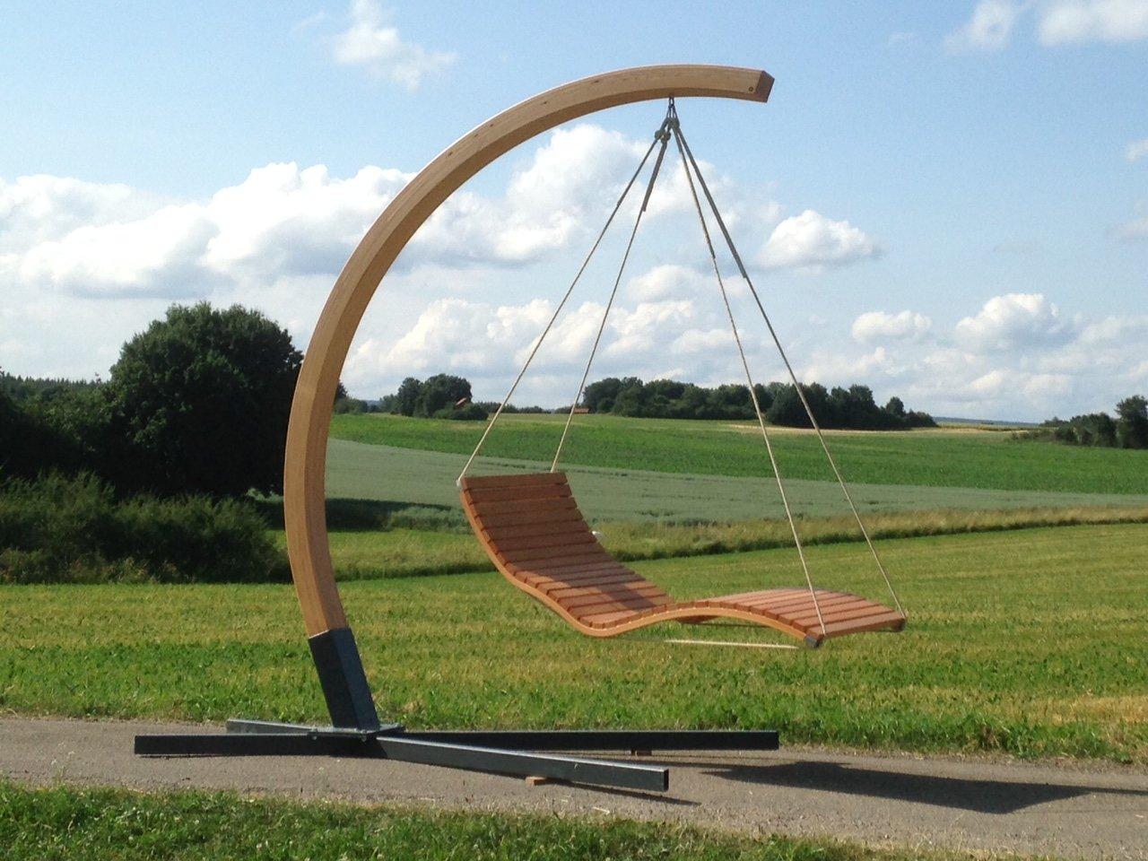Aufhängebogen mit Stahlfuß für Hängeliege aus Holz, für den Garten, Sonnenliege, Relaxliege, Gartenliege, Schwebeliege