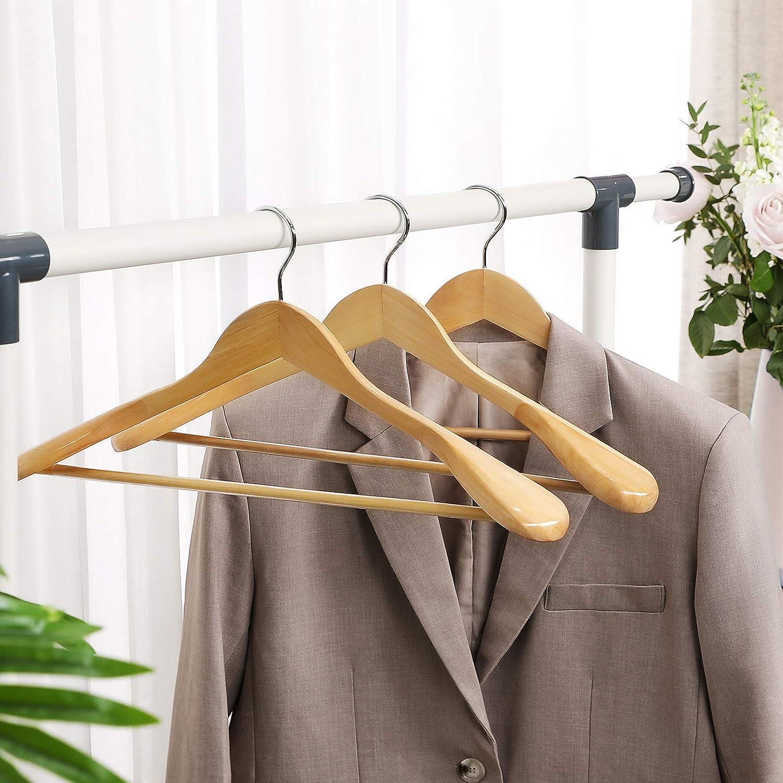 um 360/° drehbarer Haken rutschfest Kleiderb/ügel aus Massivholz SONGMICS Anzugb/ügel naturfarben CRSH06NL 6er Set M/äntel Jacken f/ür Hemden Hosen Anz/üge