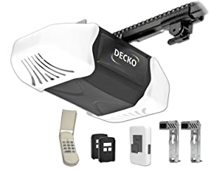 Decko 24300 3/4 Horse Power Heavy Duty Reduced Noise Chain Drive Garage Door Opener with 3 Function Locking Wall Control, Two - 3 Button Remotes and FREE Wireless Key pad