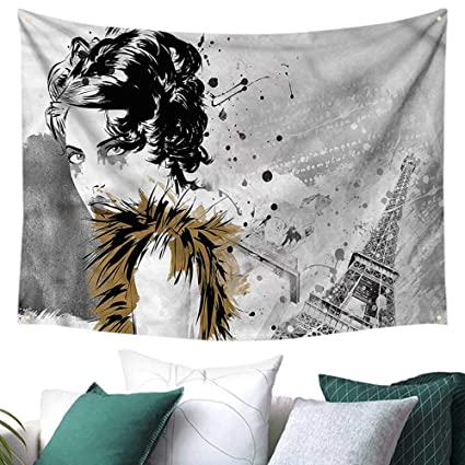amazon com modern wall tapestry fashion model paris girl 72w x 54lHow To Decorate A Living Room Modern Style For Girls #21