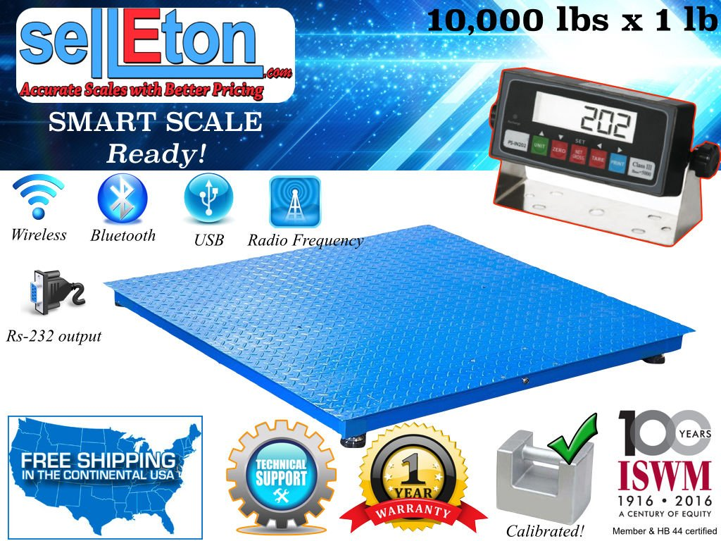 Selleton Industrial 40'' X 40'' Floor Scale/Pallet Scale with Metal Indic. 10000 Lb X 1 by Selleton