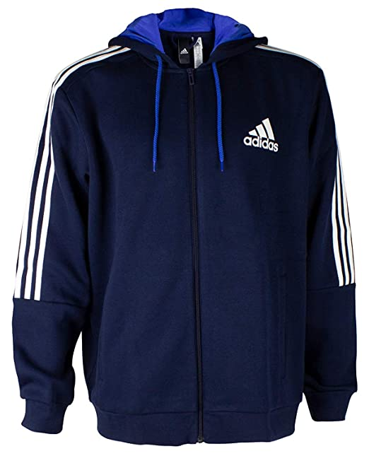 adidas Mens Hoodie 3 Stripe Logo Full Zip Hooded Sweatshirt Navy/White XL  3XL New BR7493