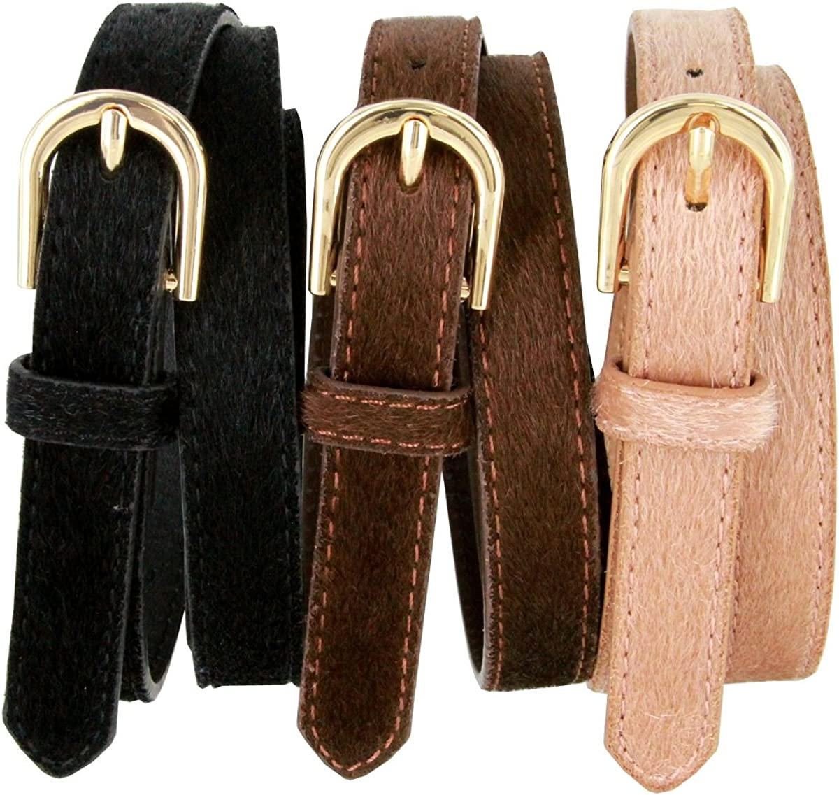 Womens Skinny Leather Casual Dress Hair-on Fur Belt with Gold Plated Buckle