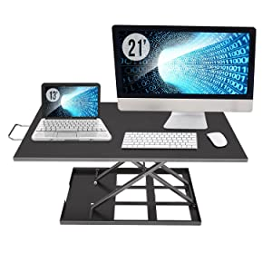 Standing Desk Converter Adjustable Height - Sit to Stand Up Desktop Table Riser - Rising Portable Black Tabletop Workstation for Computer Laptop Notebook - Best Office Exercise Work Station