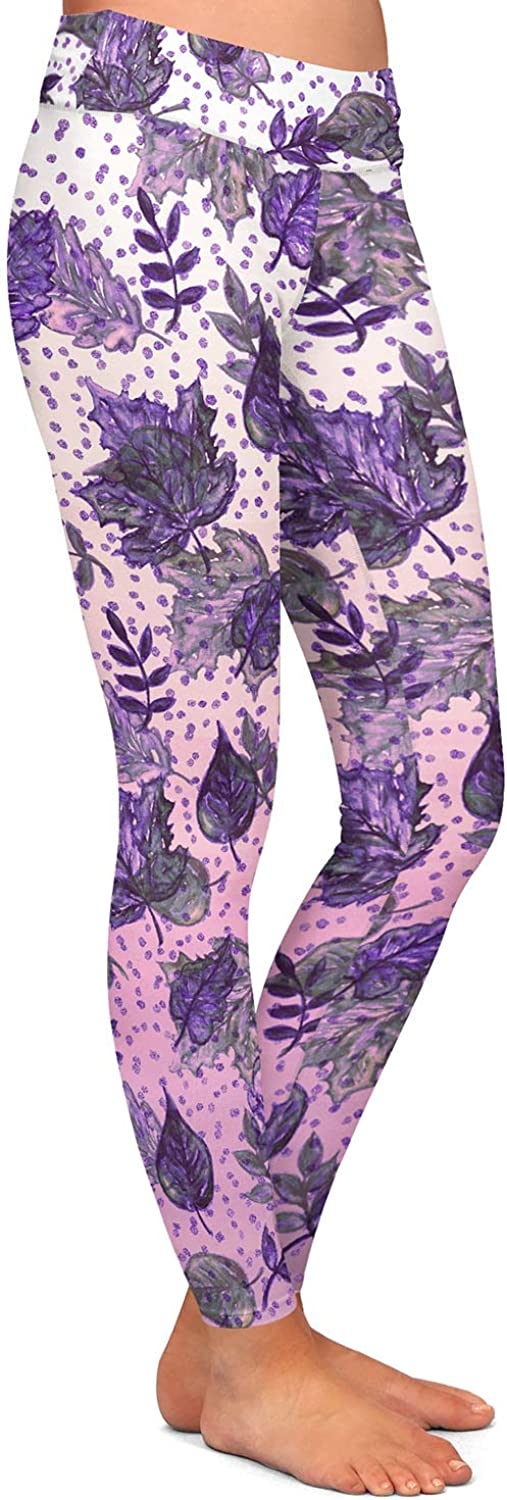 Athletic Yoga Leggings from DiaNoche Designs by Julia Di Sano Ombre Autumn Violet Purple
