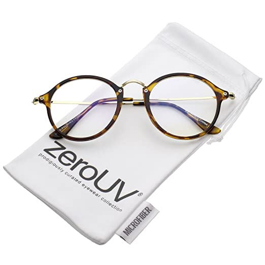2ad3be3c869 zeroUV - Classic Slim Metal Temple Clear Lens P3 Round Eyeglasses 48mm  (Tortoise-Gold