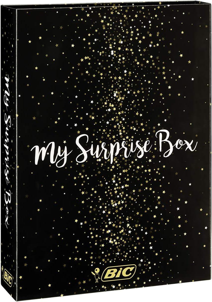 BIC My Surprise Box - Estuche de Regalo con 14 Instrumentos de Escritura, 4 bolígrafos /5 rotuladores Metalizados /5 bolígrafos de Gel /1 Bloc de Notas Adhesivas y 1 Libreta A5 (Blanca)