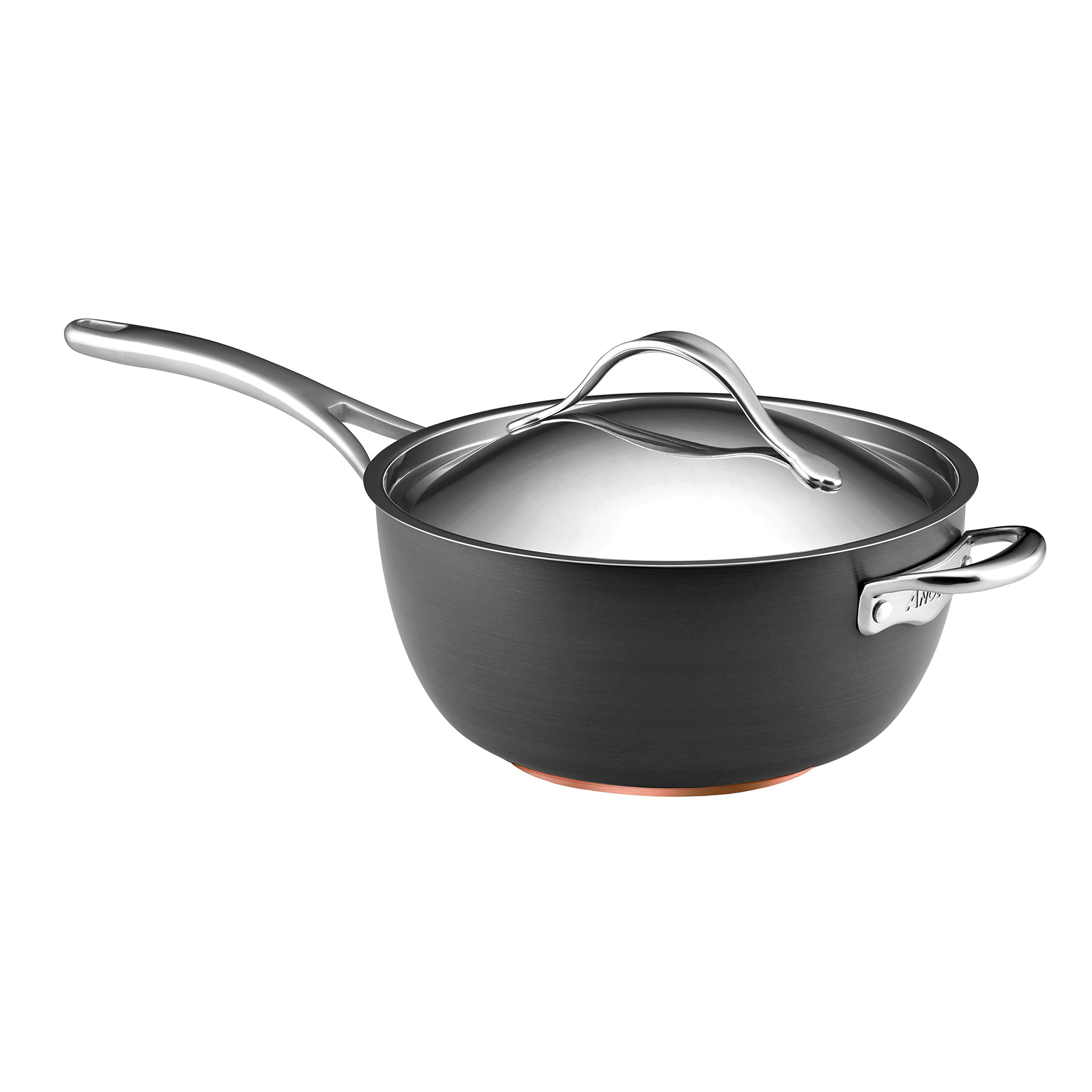 Anolon Nouvelle Copper Hard Anodized Nonstick 5.5-Qt. Covered Saucier with Helper Handle