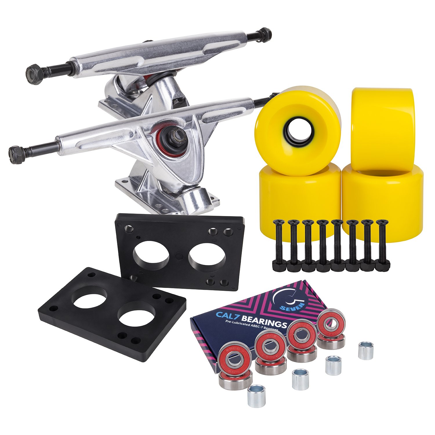 Cal 7 Longboard Skateboard Combo Package with 70mm Wheels & 180mm Lightweight Aluminum Trucks, Bearings Complete Set & Steel Hardware (Silver Truck + Solid Yellow Wheels) by Cal 7