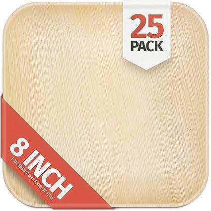 8\u0026quot; Palm Leaf Plates - 25 Pack - Square - Compostable Biodegradable \u0026 Eco  sc 1 st  Amazon.com & Amazon.com: 8\