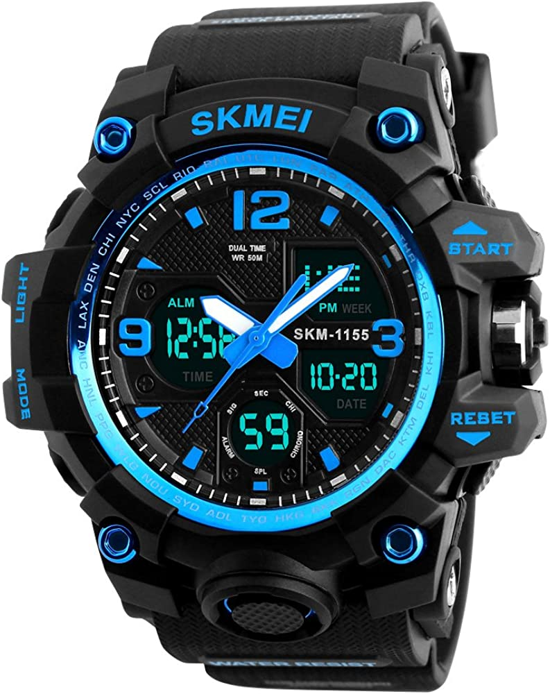 Men s Watches Sports Outdoor Waterproof Military Wrist Watch Date Multi Function Tactics LED Alarm Stopwatch
