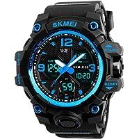 SKMEI Reloj para Hombre, Digital y Análogo, Deportivo y Militar, Retroiluminación, Resistente al Agua, con Cronómetro, Alarma y Fecha, Modelo 1155B. Negro con Azul