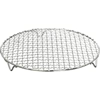 Chris-Wang 1Pack Multi-Purpose Round Stainless Steel Cross Wire Steaming Cooling Barbecue Rack/Carbon Baking Net/Grill /Pan Grate with Legs(8.25Inch Dia)
