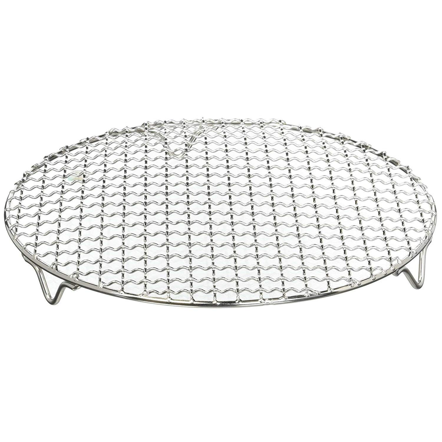 Chris-Wang 1Pack Multi-Purpose Round Stainless Steel Cross Wire Steaming Cooling Barbecue Rack /Carbon Baking Net/Grill /Pan Grate with Legs(11Inch Dia)