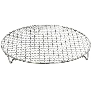 Chris-Wang 1Pack Multi-Purpose Round Stainless Steel Cross Wire Steaming Cooling Barbecue Rack/Carbon Baking Net/Grill /Pan Grate with Legs(6.5Inch Dia)