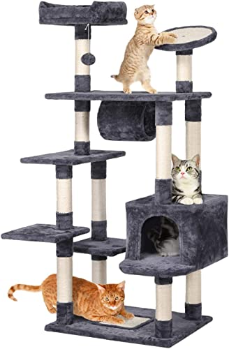 Yaheetech Cat Tree Tower with Scratching Post Plush Perch and Tunnel, Kitten Cat Condo House Furniture 62in