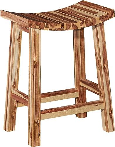 Powell Furniture Dale Saddle Bar Stool, Natural Wood