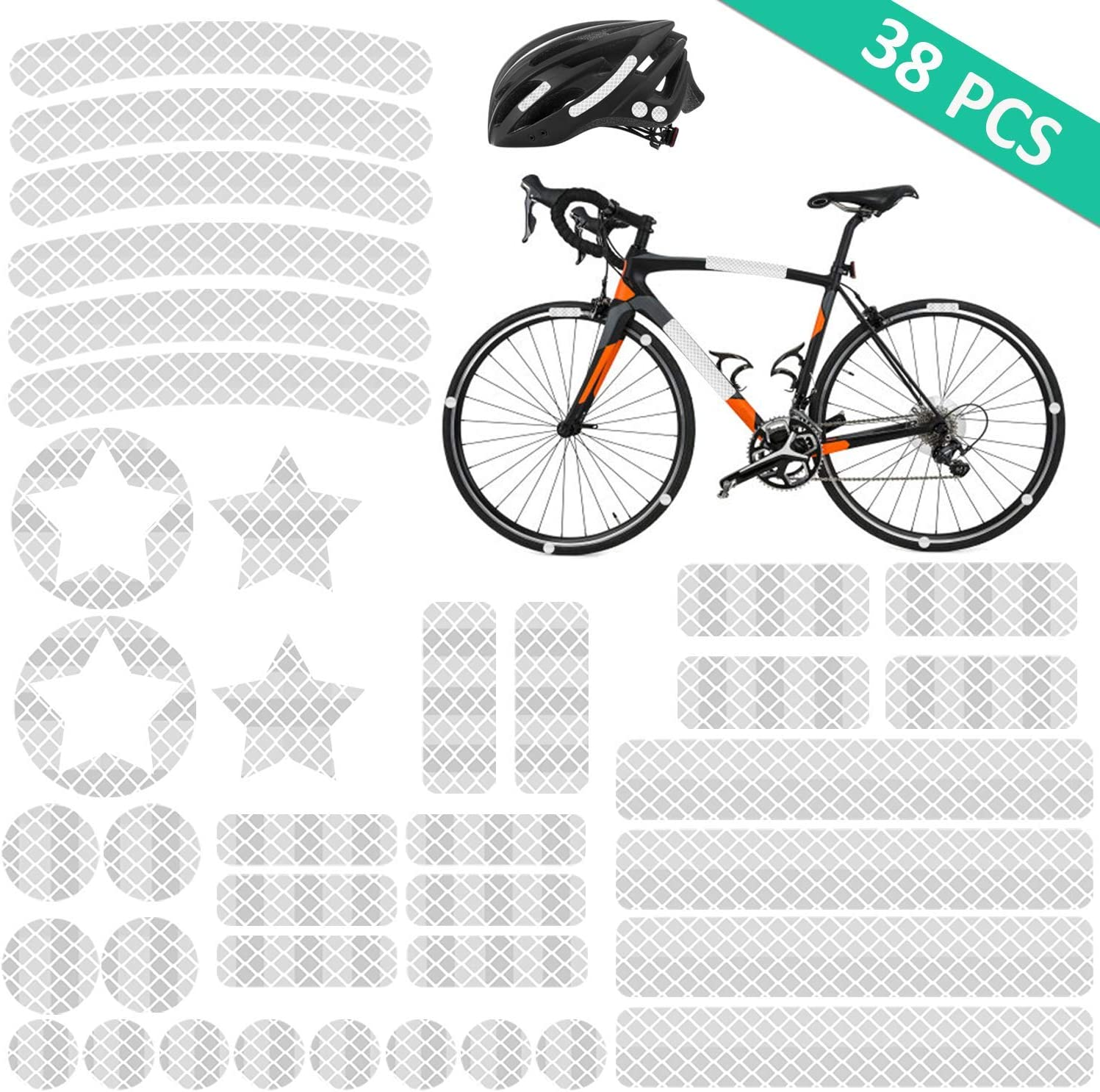 AGPTEK 38 Piezas Pegatinas Reflectantes Impermeable, Reflectores Adhesivos Adecuado para Cascos, Bicicletas, Moto, Coche, Plata