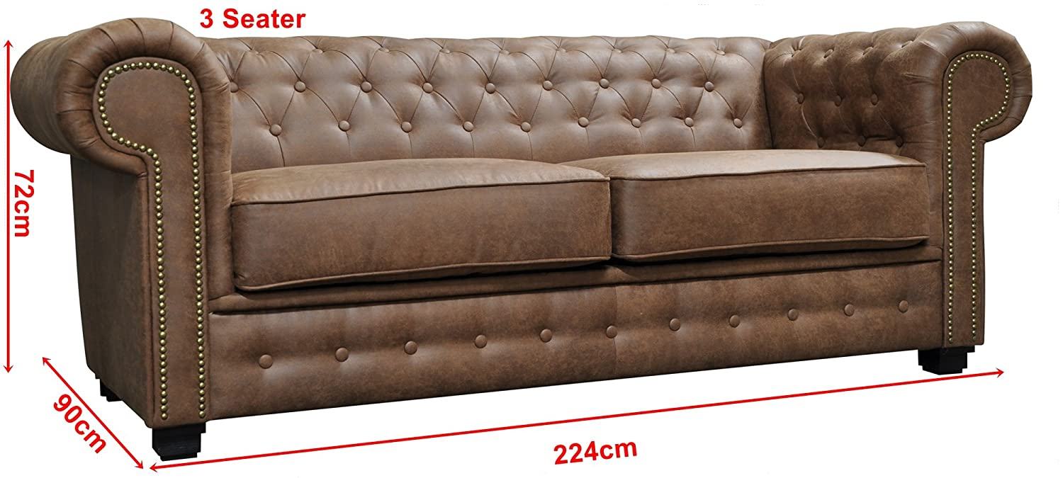 SOFAS Y MORE Nuevo Venus Chesterfield Style Set 3 + 2 plazas ...