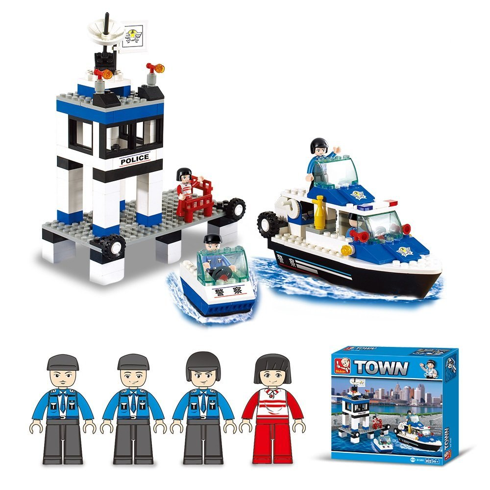 Lightahead DIY Building Blocks Set Toy Police Station,Boats and Mini Figures Construction Kit Toy Set for Kids (206 PCS)