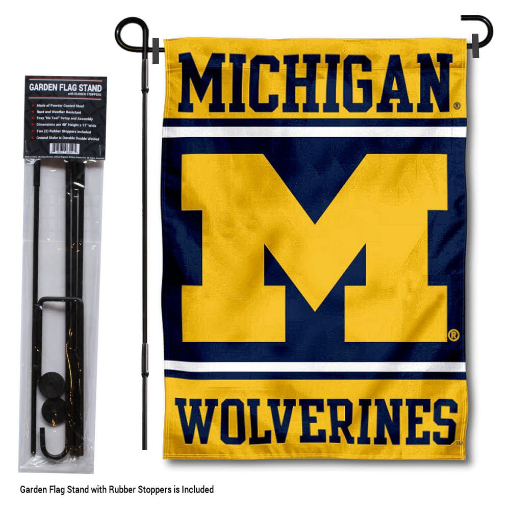 College Flags and Banners Co. Michigan Wolverines Garden Flag with Stand Holder