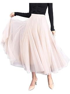 Langrock Tütü Tüll Rock Damen A-Linie Maxiröcke Prinzessin Hochzeit Partykleid