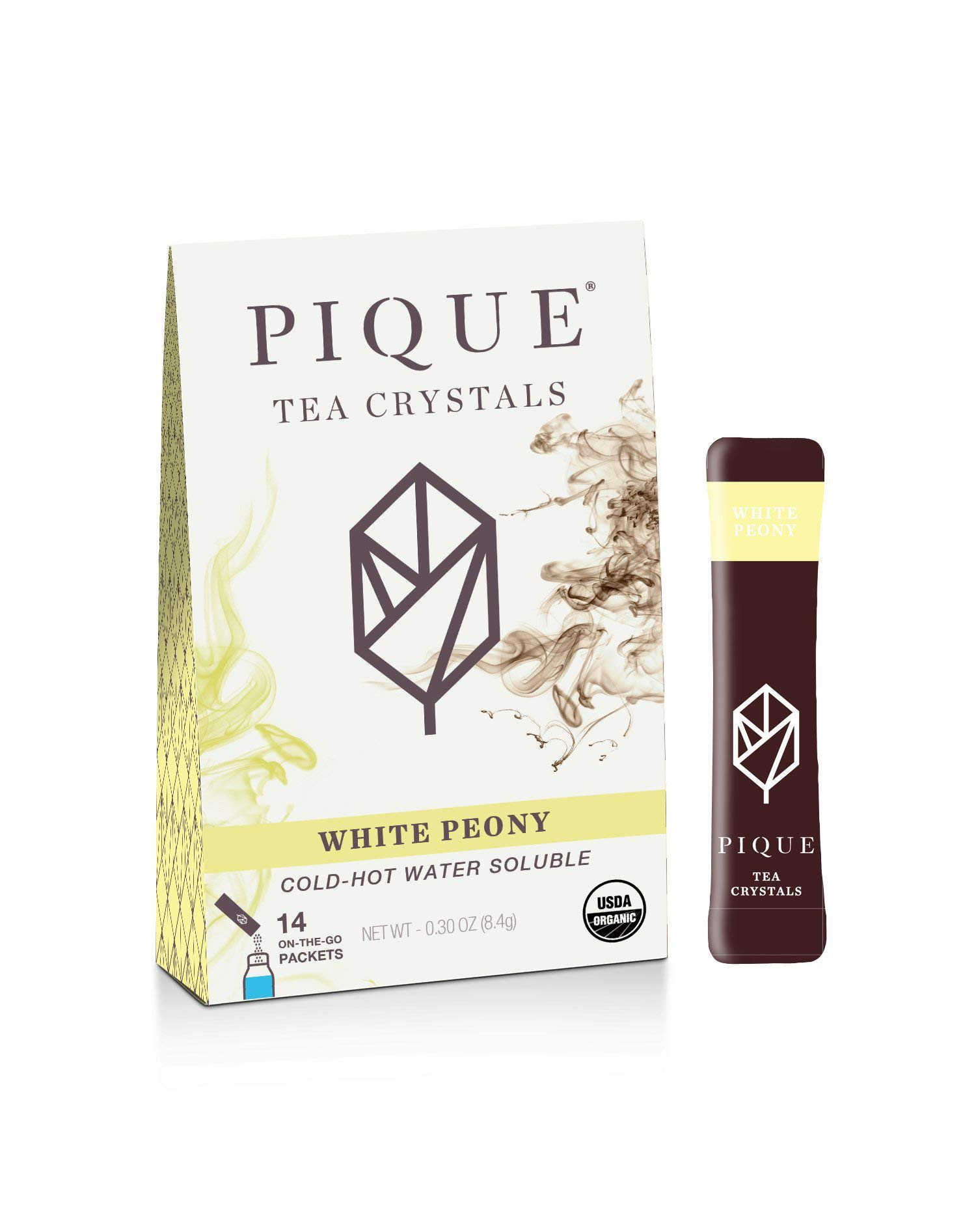 Pique Tea Organic White Peony Tea Crystals - Gut Health, Fasting, Calm - 1 Pack (14 sticks) by PIQUE