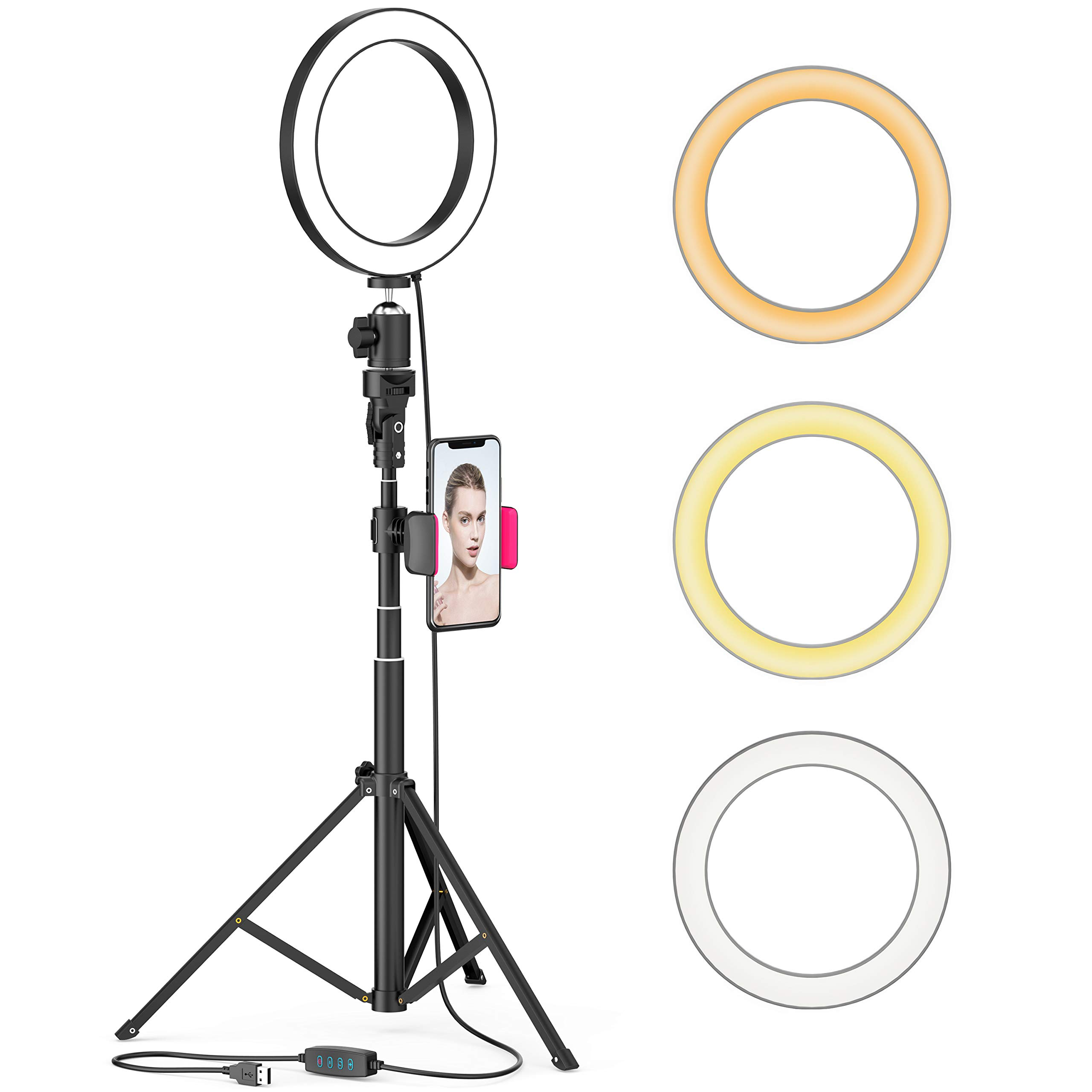 8'' LED Selfie Ring Light for Live Stream/Makeup/YouTube Video, Dimmable Beauty Ringlight with Tripod Stand & Cell Phone Holder for iPhone Android Phone, Color Temperature 3000K-5000K, 80 Bulbs, Remote