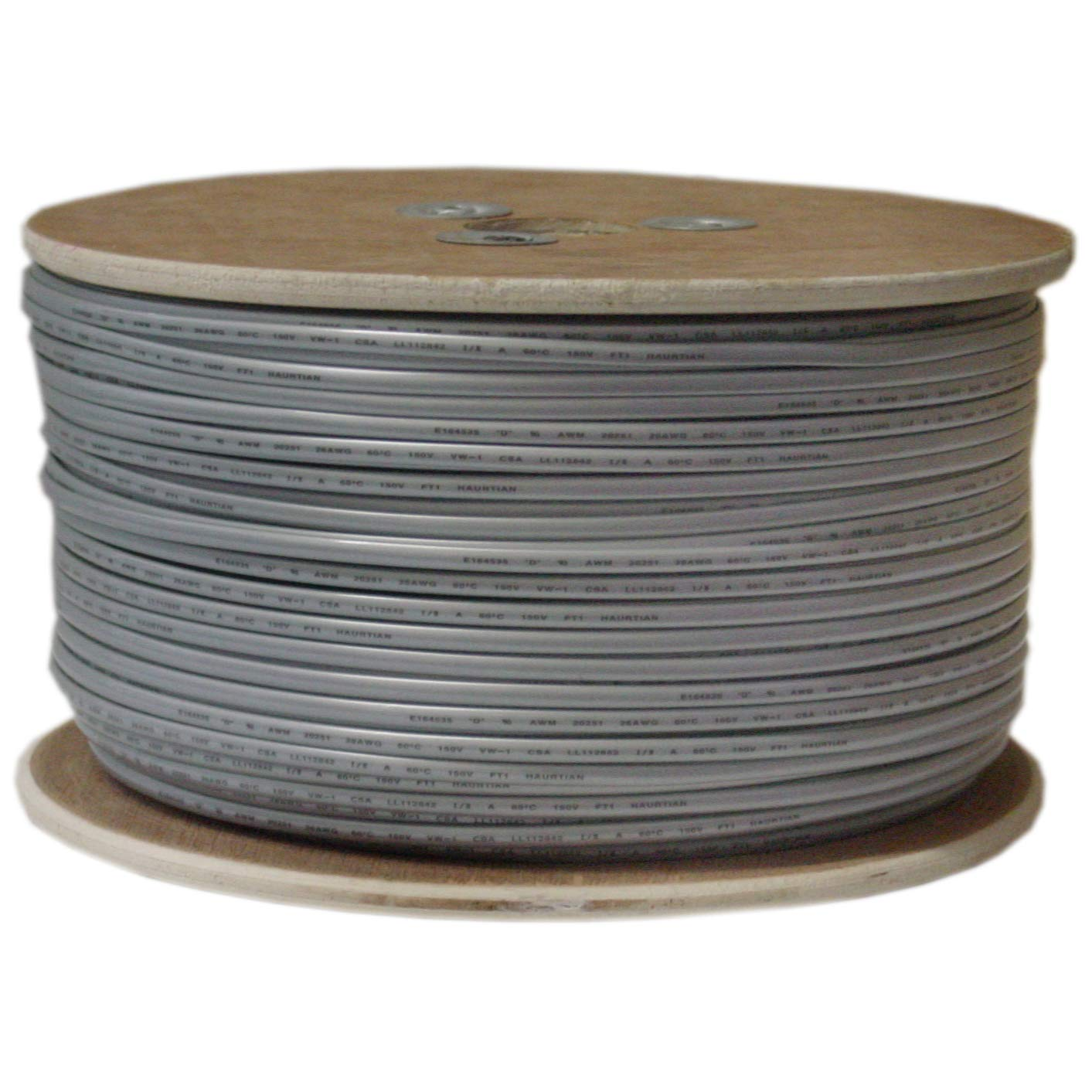 ACCL 28 AWG/6 Conductor Phone Cord, Bare end, Spool, Silver Satin, 1000ft, 1pk