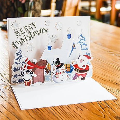 Amazon.com: Paper Spiritz Happy holidays Pop up Christmas Cards - 3d ...