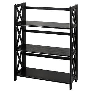 Casual Home Montego 3-Shelf Folding Bookcase, Black